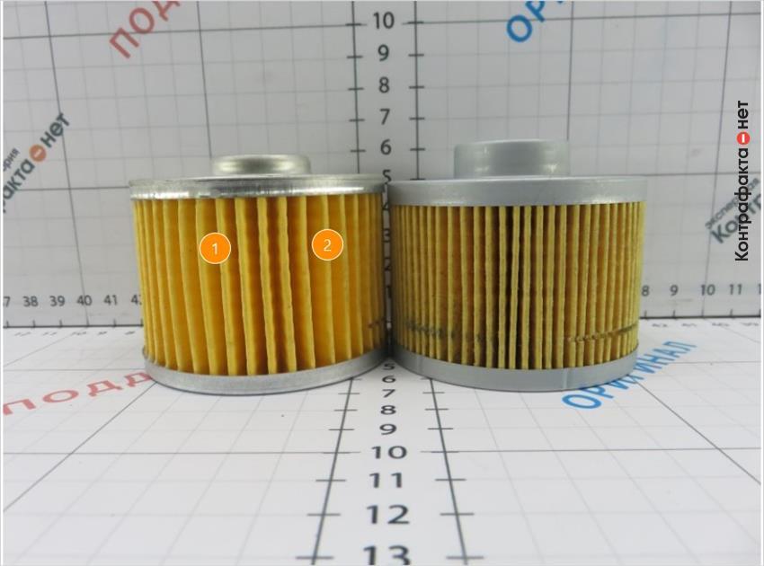 1. Плотность и количество фильтрующих ламелей меньше, чем у оригинала.   2. Неравномерное расположение фильтрующих ламелей.