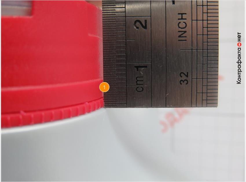 1. Размер контрольного кольца меньше оригинала.