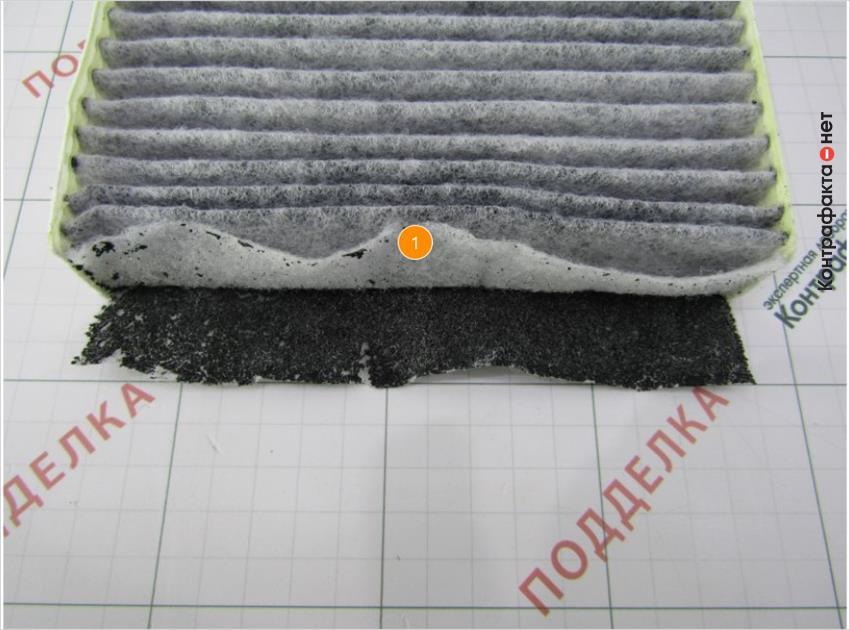 1. Фильтрующие слои легко отделяются друг от друга.