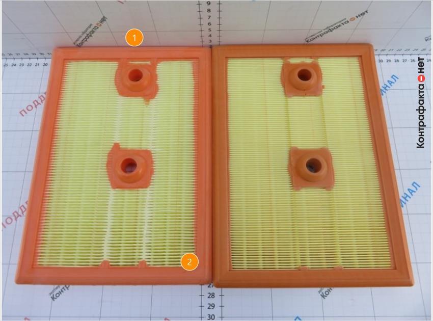 1. Полиуретановый уплотнитель яркого оттенка. | 2. Длина фильтра меньше оригинала.
