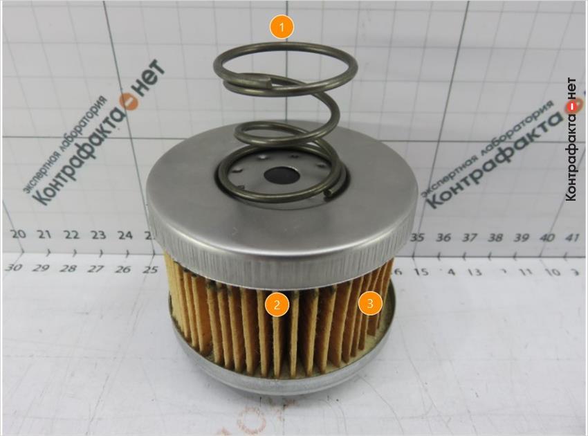 1. Используется пружина вместо прижимной пластины. | 2. Плотность и количество фильтрующих ламелей меньше оригинала. | 3. Фильтрующий элемент смещен в сторону.