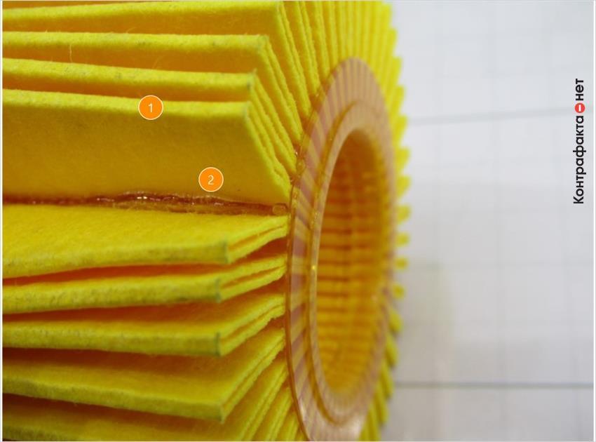 1. Другая структура и оттенок фильтровальной бумаги. | 2. Обильное нанесение клея.