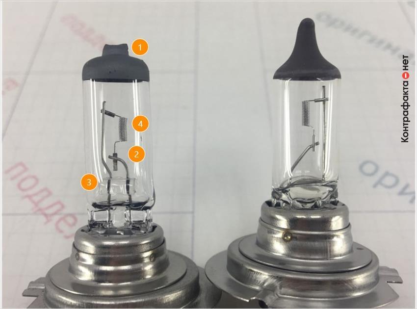 1. Отличается форма верхнего колпачка. | 2. Отличается изгиб электрода. | 3. Присутствует стеклянный держатель электродов. | 4. Кривая нить накаливания.
