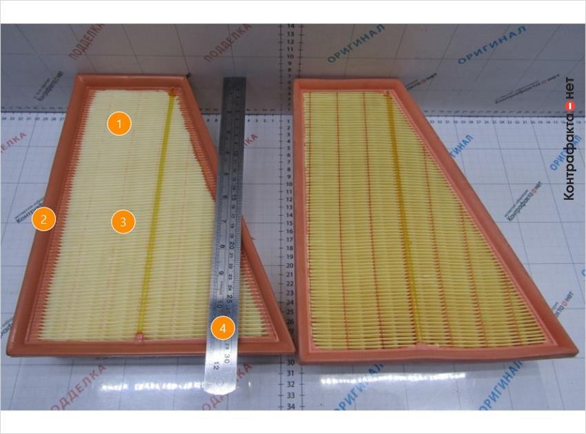 1. Светлый оттенок фильтрующего материала.   2. Темный цвет корпуса.   3. Используется 90 ламелей, в оригинале 89.   4. Фильтр короче на 7мм.