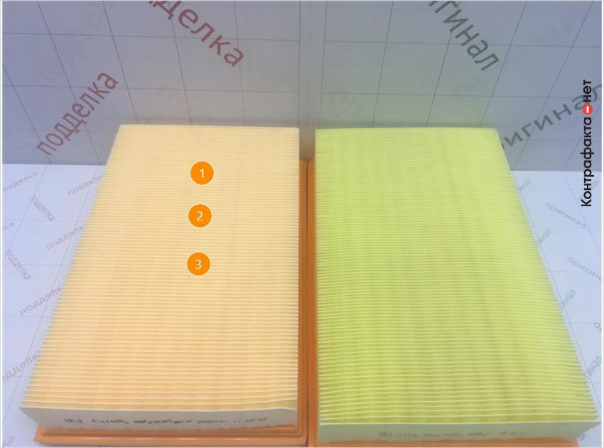1. Отличается оттенок цвета фильтрующего элемента. | 2. Отличается материал фильтрующего элемента. | 3. Отличается кол-во сот фильтрующего элемента.