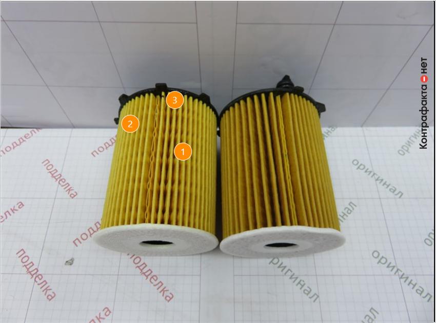 1. Отличается кол-во сот фильтрующего элемента. | 2. Имеет отличие оттенок цвета фильтрующего элемента. | 3. Отличается плотность сот фильтрующего элемента.
