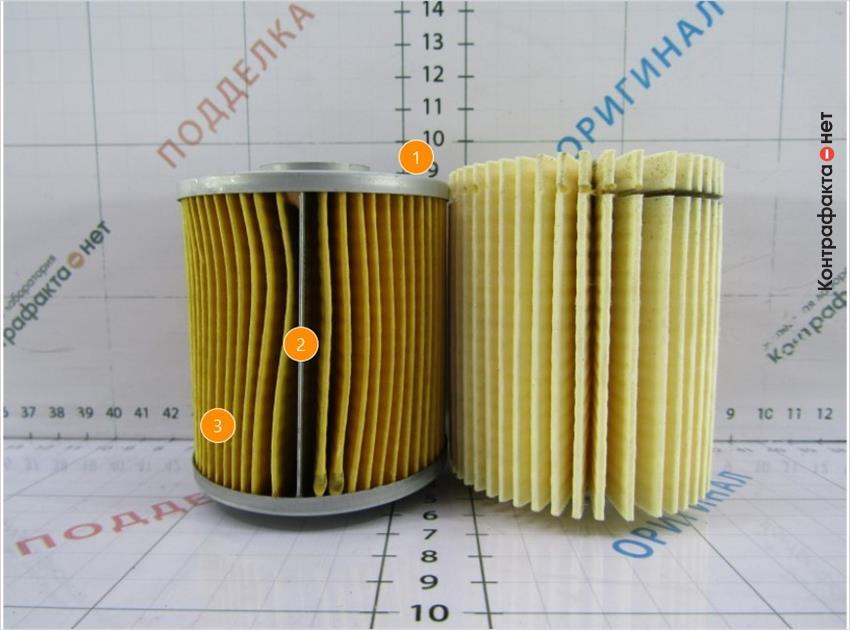1. Меньшая высота фильтрующего элемента.   2. Используется прижимная пластина.   3. Количество ламелей 55(у оригинала 44).
