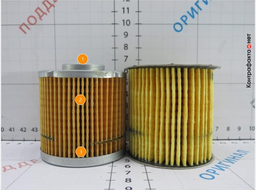 1. Используется металлический корпус, картридж фильтра меньшей высоты.   2. Фильтровальная бумага темного цвета.   3. Способ соединения ламелий не соответствует оригиналу, в оригинале используется резиновый герметик.
