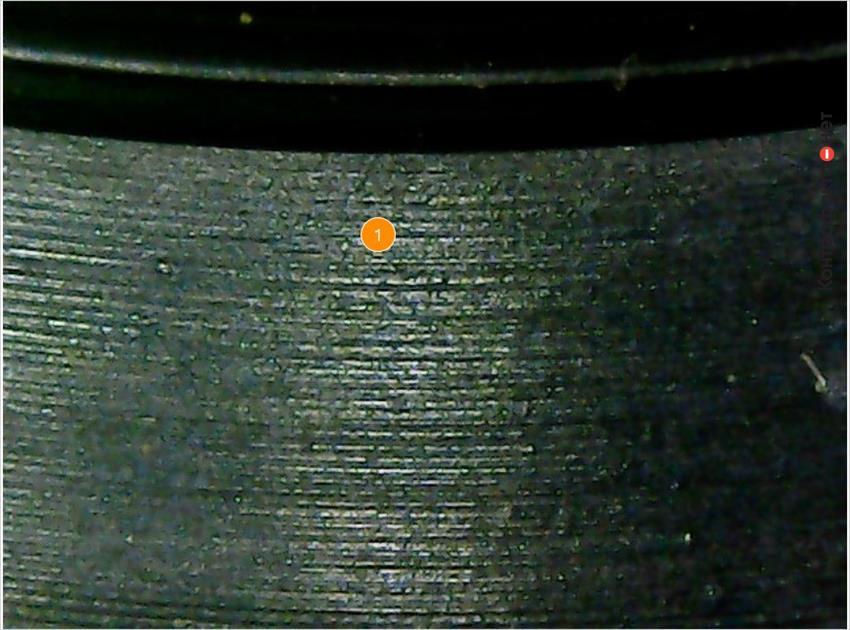 1. Продольные полосы по всему диаметру сальника.
