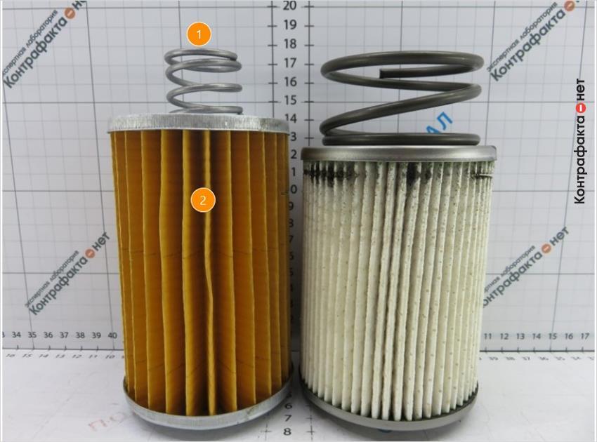 1. Пружина меньшего размера. | 2. Отличается материал и плотность фильтрующего элемента.