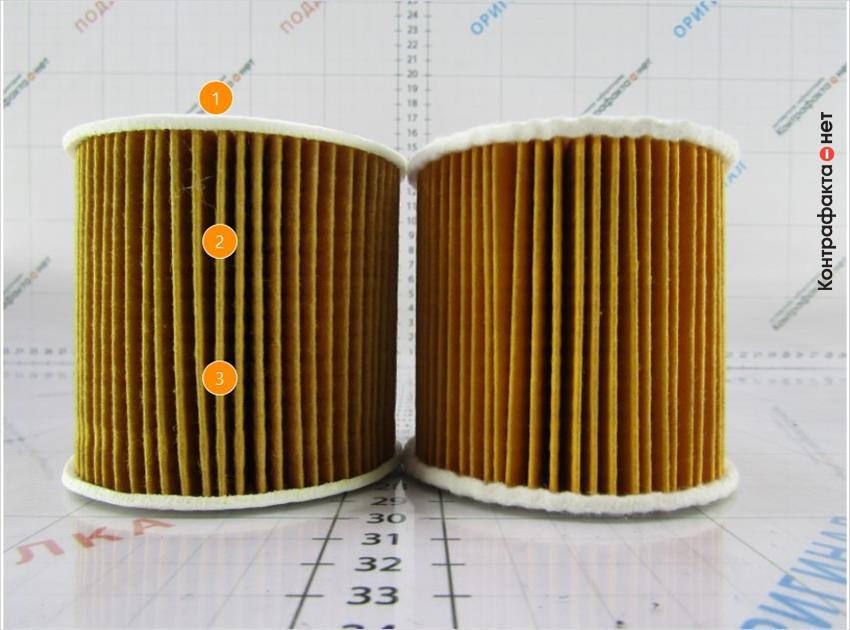 1. Корпус меньшей толщены с острыми краями.   2. Используется 61 ламель, в оригинале 50.   3. Более темный оттенок фильтра.