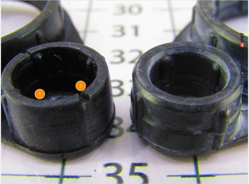 1. Отсутствует скос по краю кольца. | 2. Производственные дефекты.