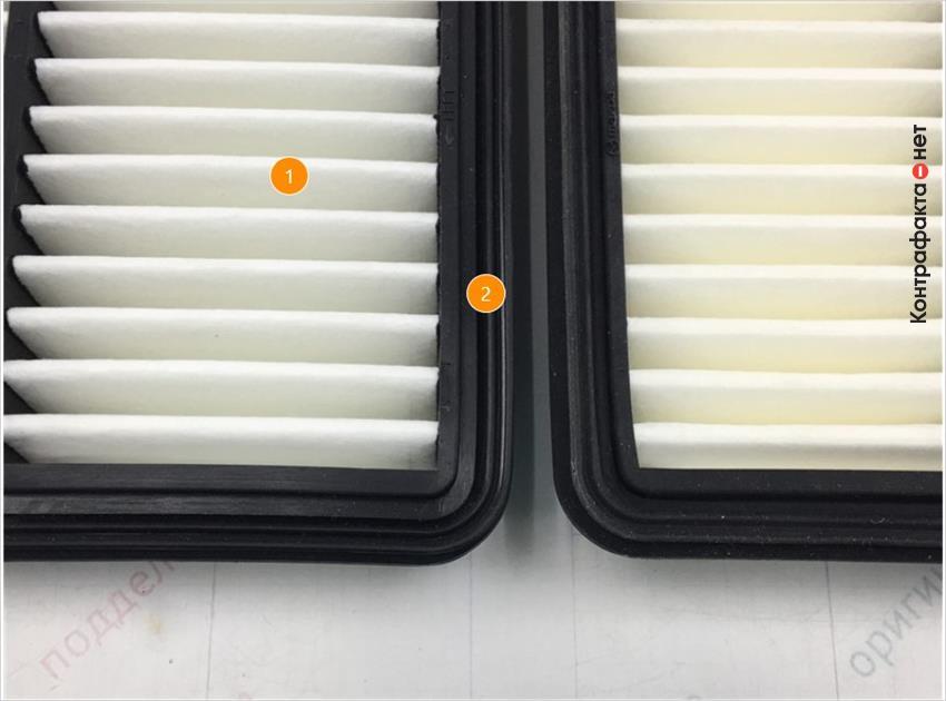 1. Отличается плотность материала фильтрующего элемента. | 2. Отличается упругость окантовки фильтра.