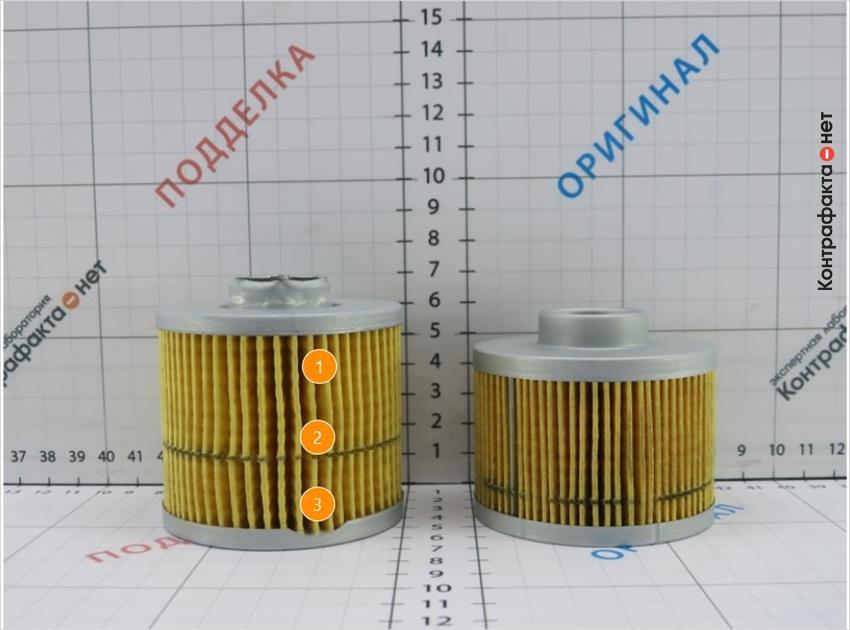 1. Плотность и количество фильтрующих ламелей меньше, чем у оригинала. | 2. Неравномерное расположение фильтрующих ламелей. | 3. Частичное отсутствие прилегающей кромки.