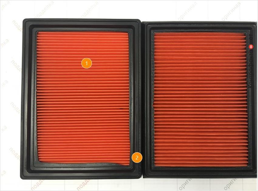 1. Отличается материал, плотность и кол-во сот фильтрующего элемента.   2. Отличается упругость полиуретановой окантовки.