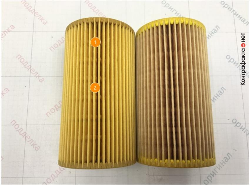 1. Отличается оттенок цвета материала фильтрующего элемента.   2. Более выраженные следы от пресс-формы на фильтрующем элементе.