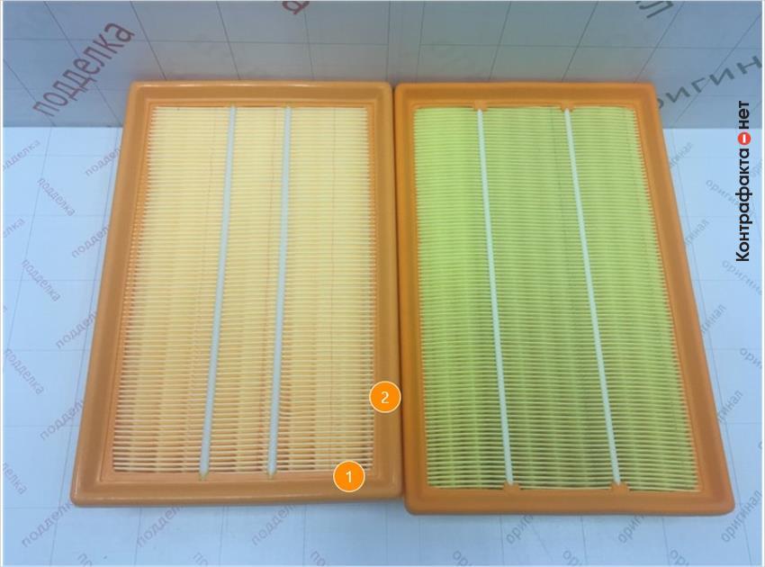 1. Отличается размер фильтра. | 2. Отличается упругость полиуретановой окантовки.