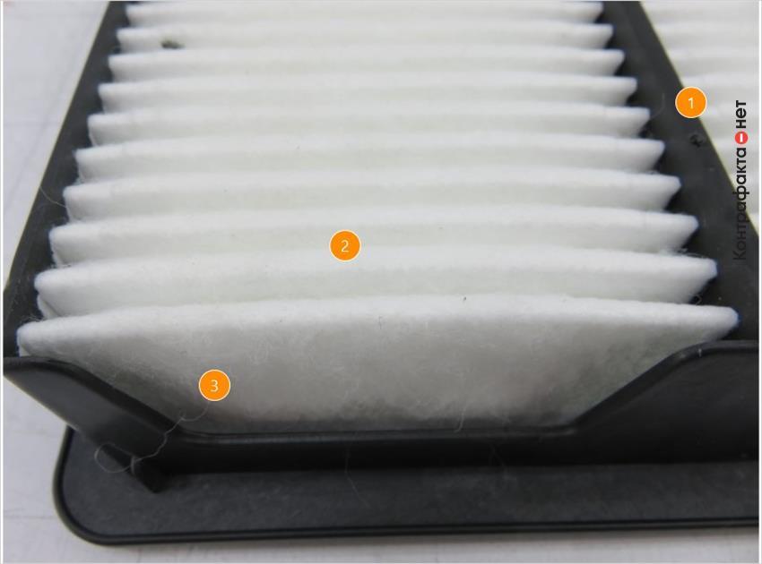 1. На перемычке присутствуют технологические точки округлой формы.   2. Фильтрующие ламели примыкают друг к другу.   3. Многочисленные волокна отделяются от фильтрующего элемента.