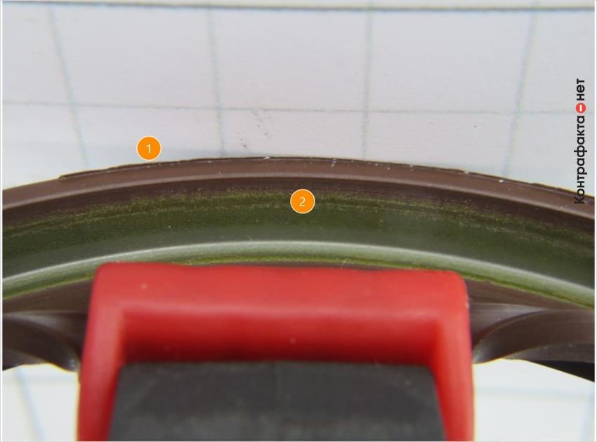 1. Окружность имеет излишки материала. | 2. Металл зеленого оттенка.