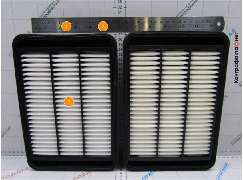 1. Корпус фильтра деформирован. | 2. Высота меньше на 3мм. | 3. Светлый оттенок фильтрующего элемента.