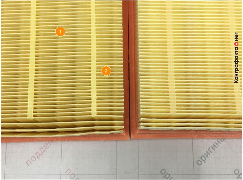 1. Отличается оттенок цвета фильтрующего элемента. | 2. Отличается материал и плотность сот фильтрующего элемента.