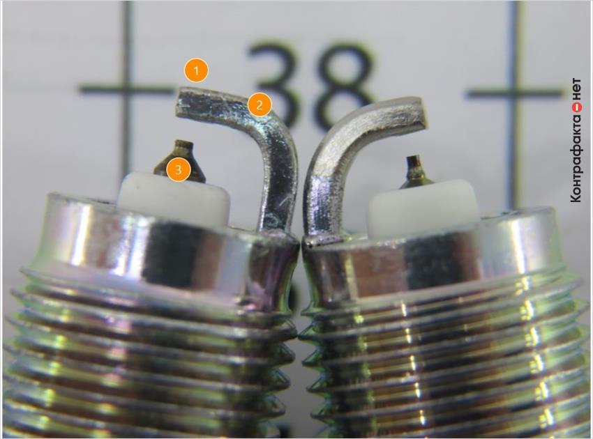 1. Отсутствует платиновое напыление. | 2. Боковой электрод г-образной формы. | 3. Разная форма и цвет центральных электродов.