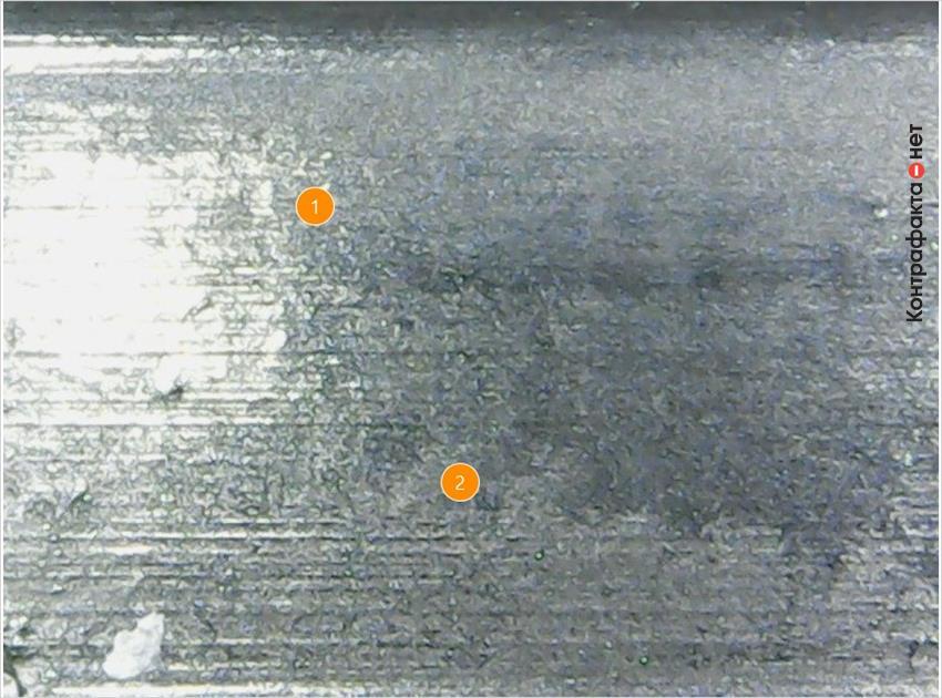 1. Глянцевая поверхность. | 2. Низкое качество обработки.