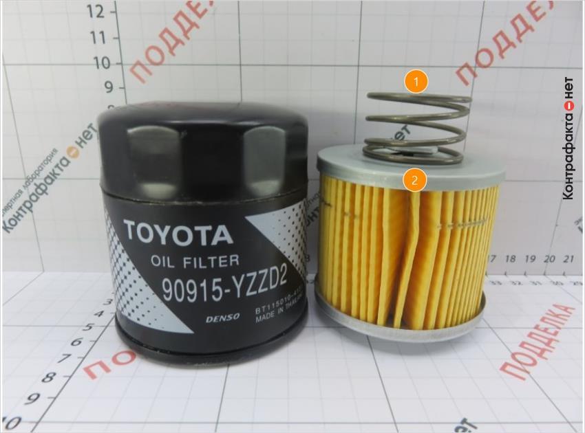 1. Используется пружина вместо прижимной пластины.   2. Конструктивная разница фильтрующего элемента.