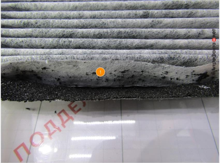 1. Синтетическое основание легко отделяется от угольного фильтра.