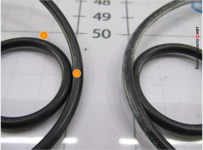 1. Уплотнительные кольца глянцевого оттенка. | 2. Отсутствует парафиновый слой.