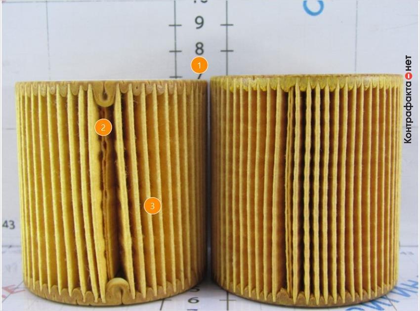 1. Меньшая высота фильтрующего элемента. | 2. Ширина шва в месте склейки сот меньшего размера. | 3. Количество ламелей 54( у оригинала 66).