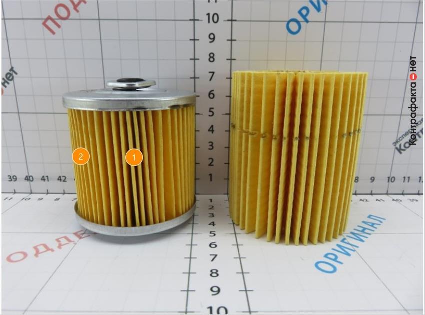 1. Размер фильтрующего элемента не соответствует оригиналу. | 2. Отличается материал и плотность сот фильтрующего элемента.