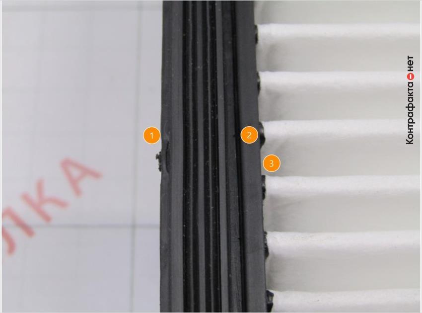 1. Низкое качество обработки уплотнителя, остатки резины. | 2. Отсутствует маркировка. | 3. Наплывы пластика на ламелях.