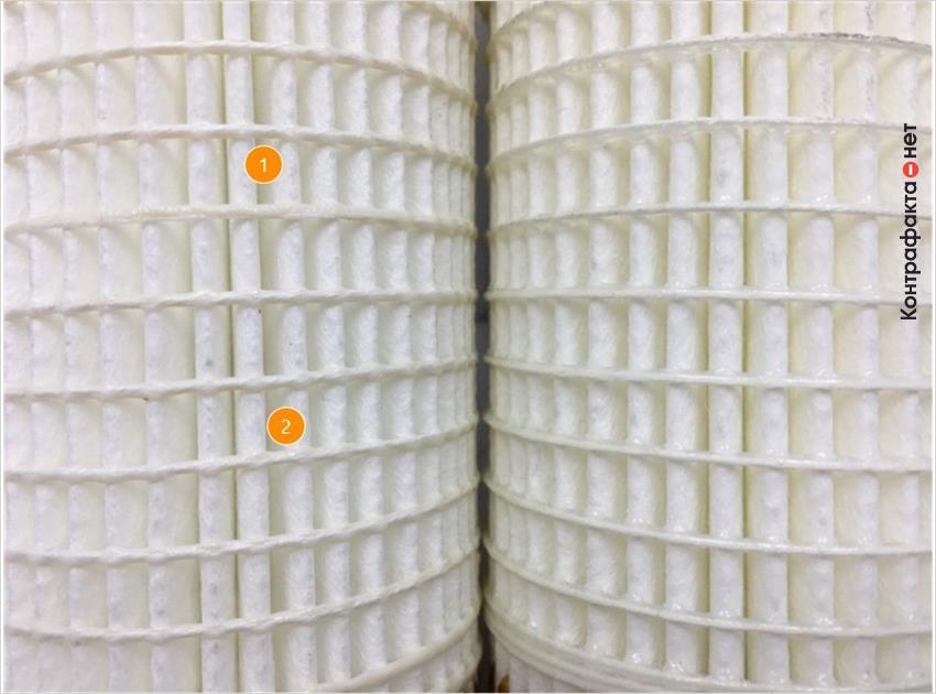 1. Отличается плотность сот фильтрующего элемента. | 2. Присутствует специфический запах.