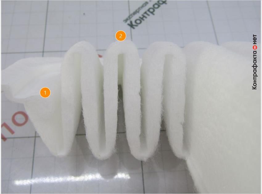 1. Большая плотность синтетического волокна.   2. Форма ламелей не соответствует оригиналу.
