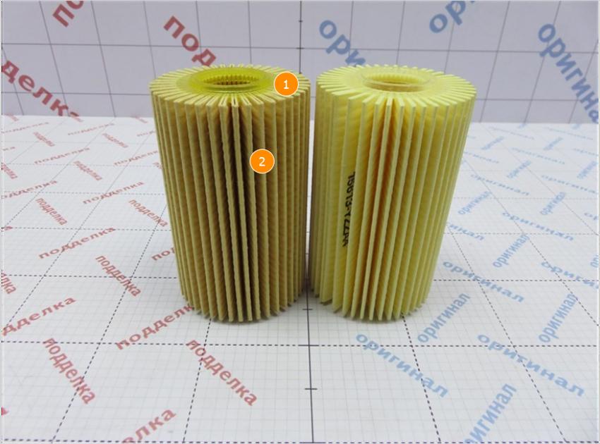 1. Имеет геометрическое отличие, оригинальный фильтр больше. | 2. Имеет визуальное отличие цвет фильтрующего элемента.