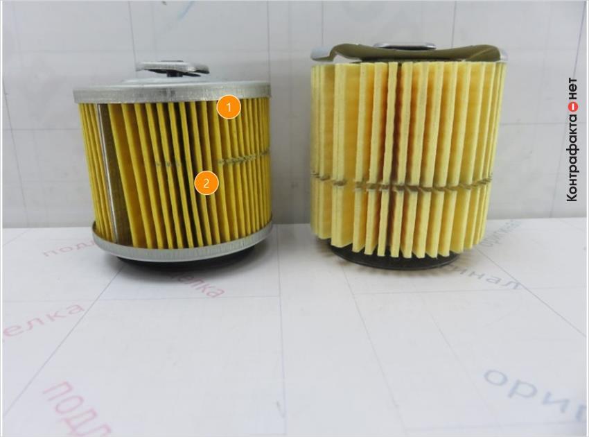 1. Конструкция фильтрующего элемента не схожа с оригиналом. | 2. Оттенок фильтрующего элемента не соответствует оригиналу.