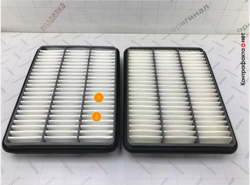 1. Отличается материал и плотность сот фильтрующего элемента. | 2. Отличается плотность фильтрующего элемента.