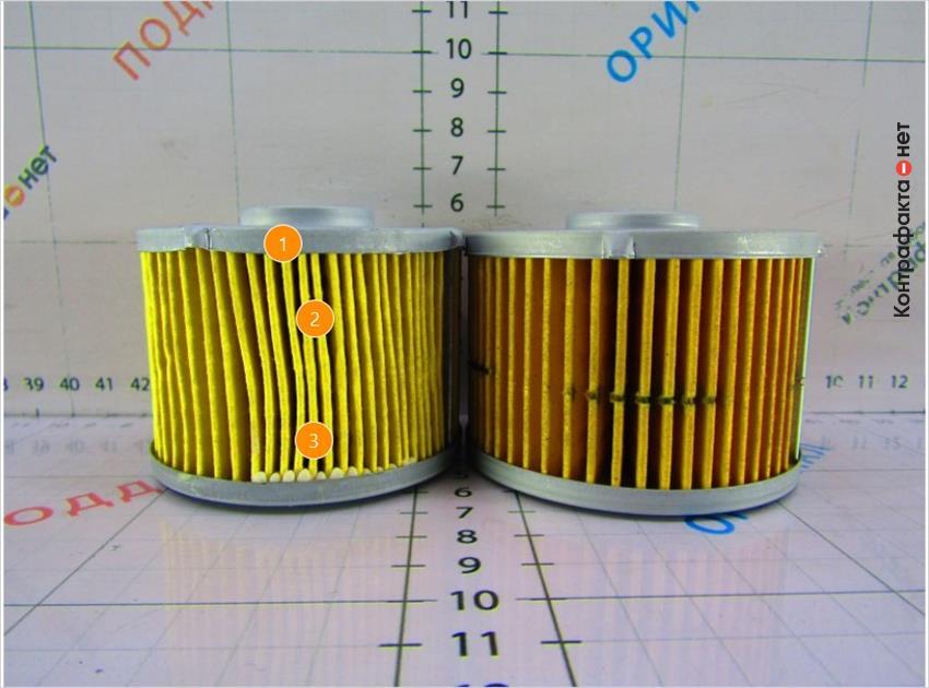 1. Светлый оттенок фильтрующего материала. | 2. Ламели вклеены не равномерно. | 3. Обильное нанесение клея.